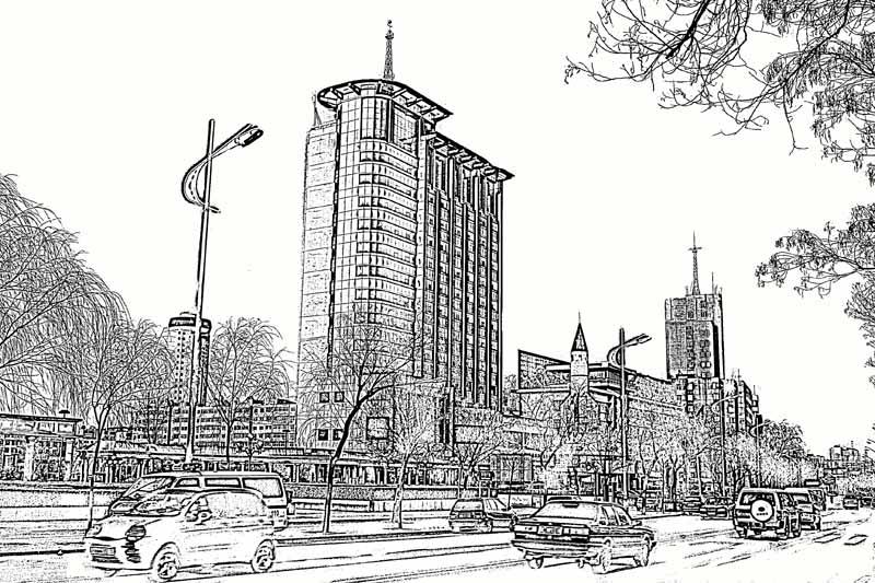 手绘铅笔画城市