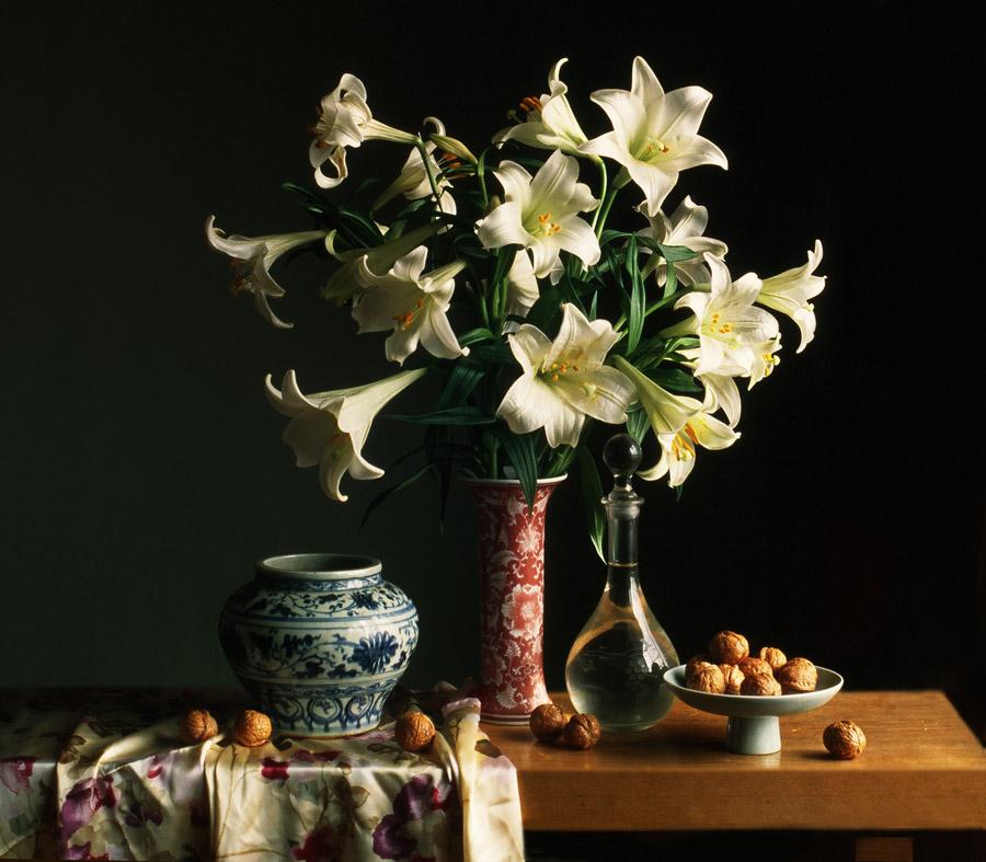静物------家核头-百合花