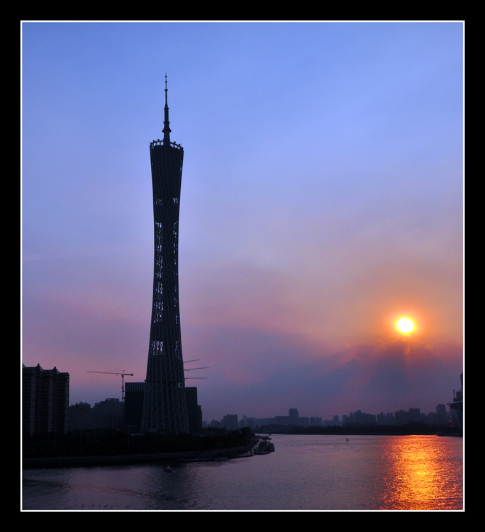 广州塔夜景高清图片夕阳