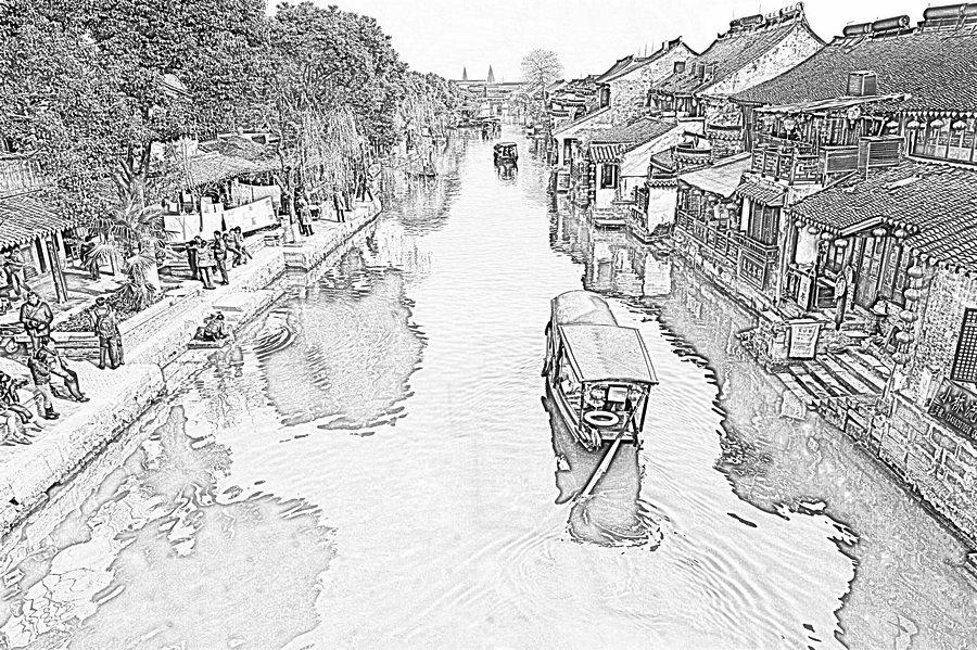 西塘古镇手绘图片