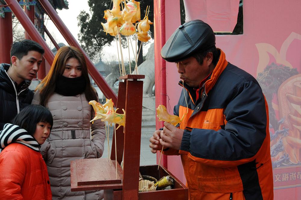 北京绝活吹糖人