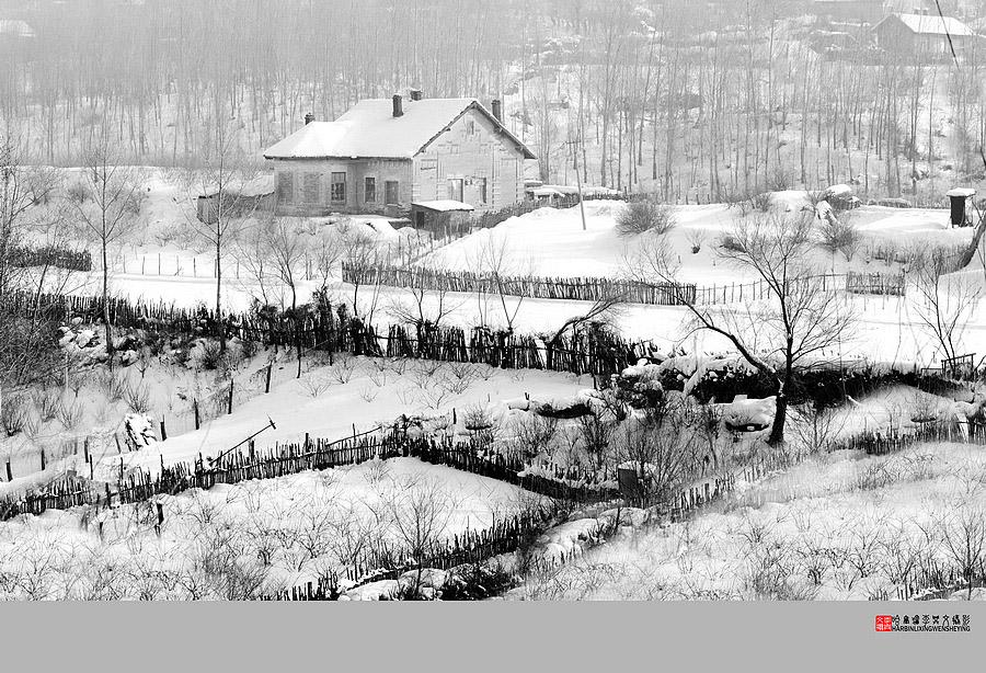 素描村庄风景图片大全