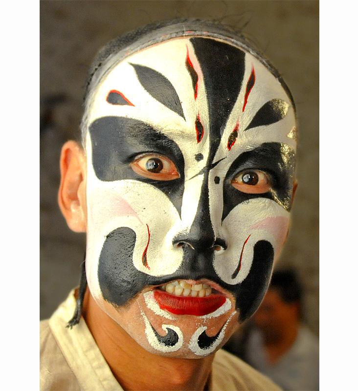 面具手绘装饰画
