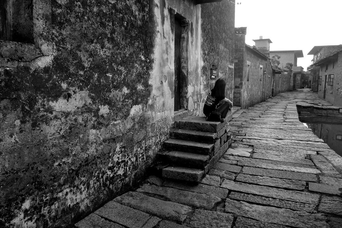 古村和小巷手绘图片