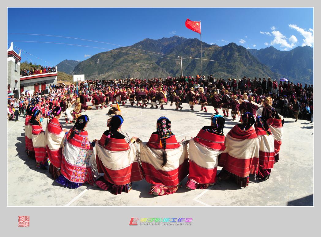 藏族人舞 手绘